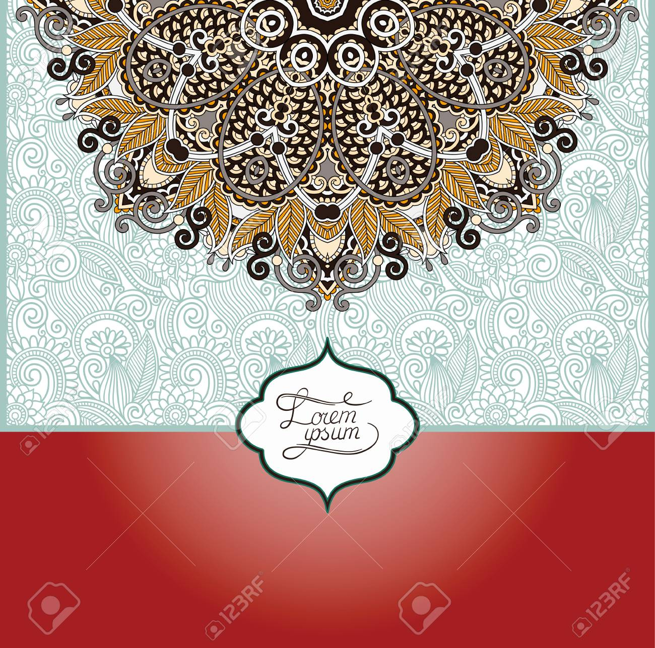 Islamic Vintage Floral Pattern, Template Frame For Greeting Card ...