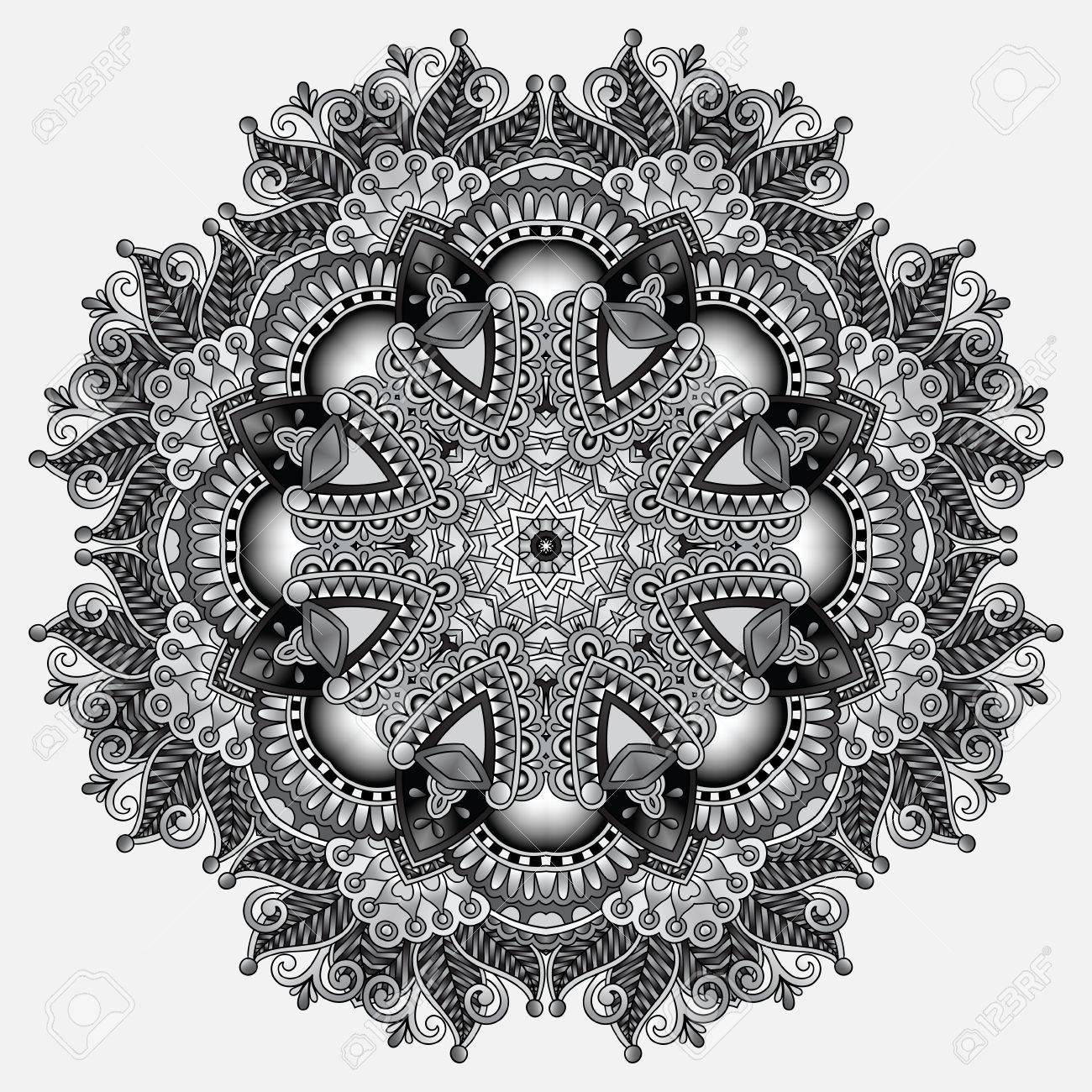 Gris Motif Géométrique Décoratif Circulaire Pour La Conception De