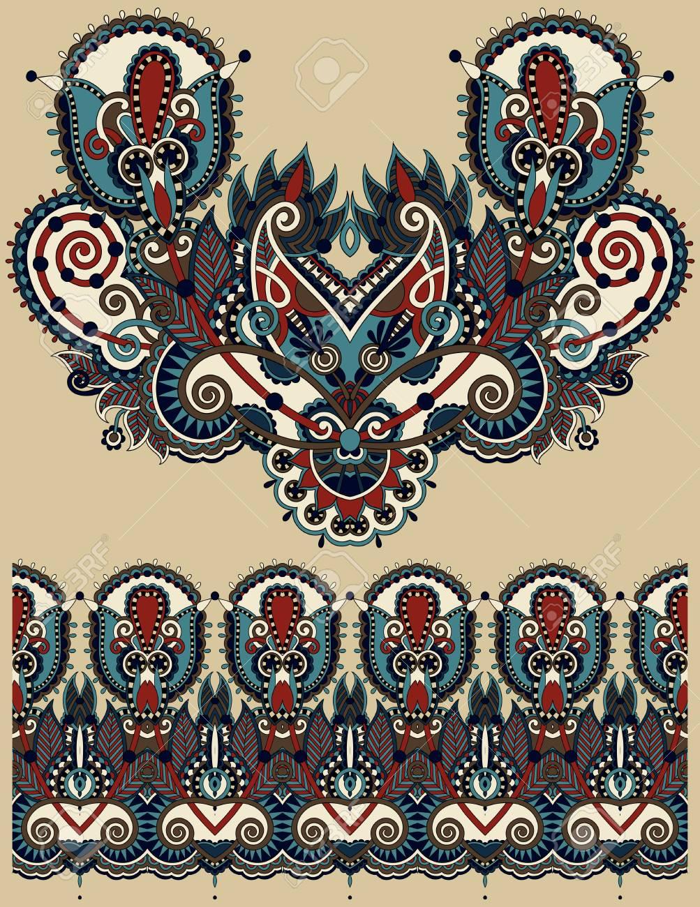Escote Diseño De Moda Del Bordado Paisley Floral Adornado Estilo étnico Ucraniano Un Buen Diseño De La Ropa De Impresión O Camisa