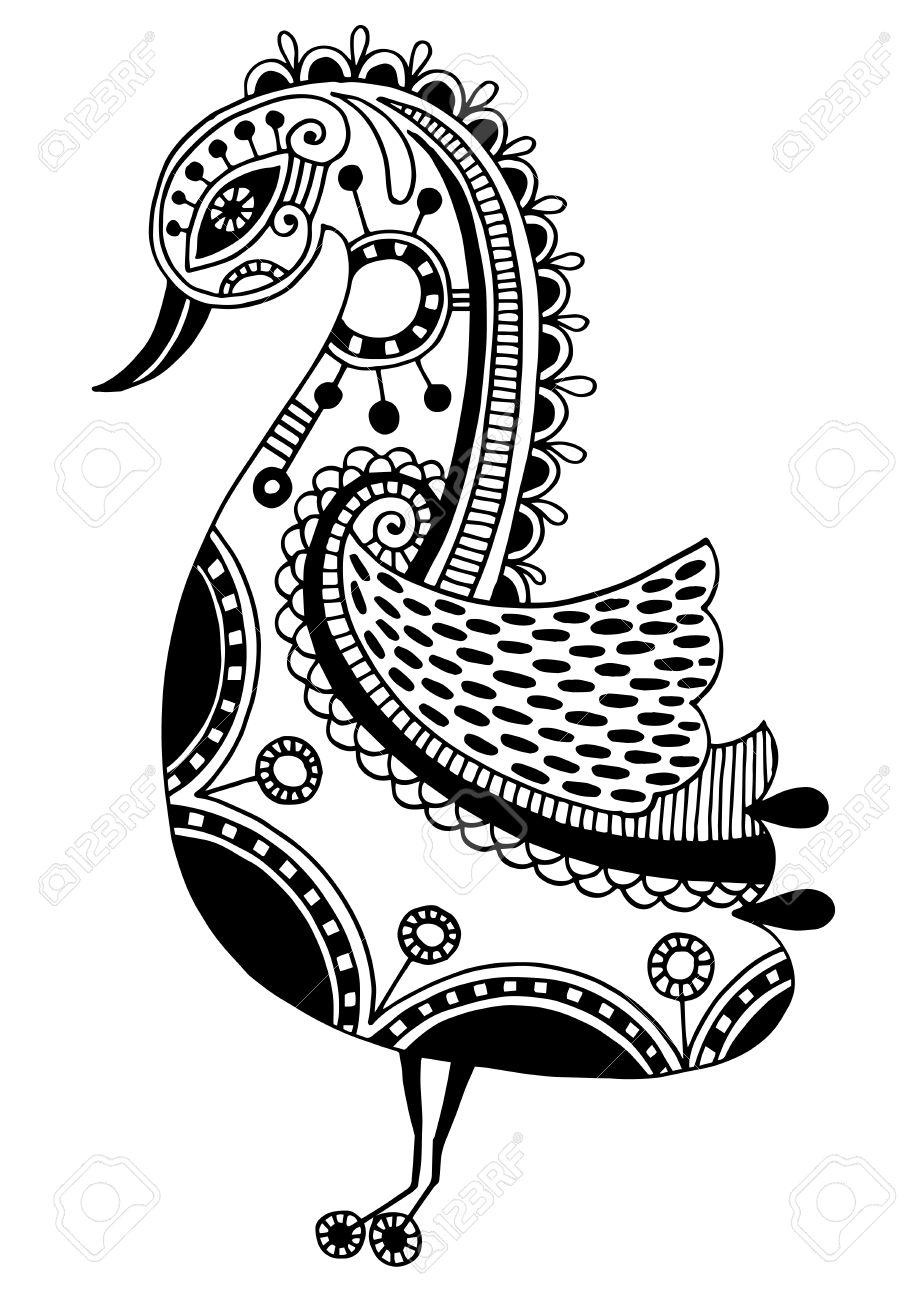 Dessin à Lencre De Loiseau Tribal Ornemental Motif Ethnique Noir Et Blanc Illustration Vectorielle