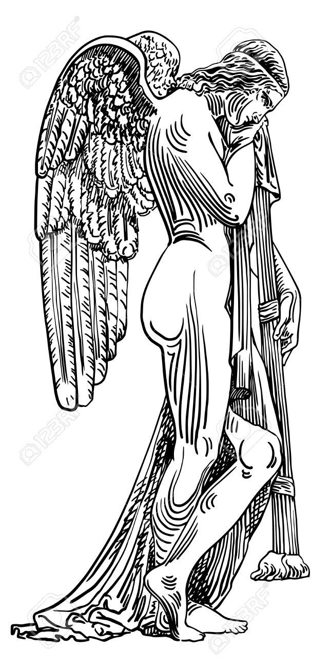 Dessin Ange Triste dessin croquis numérique noir et blanc de marbre statue ange triste