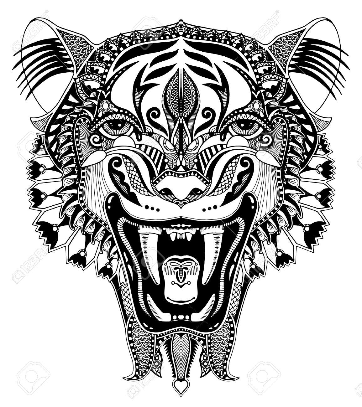 Original En Noir Et Blanc Tête De Dessin Avec La Chute Ouvert Tigre