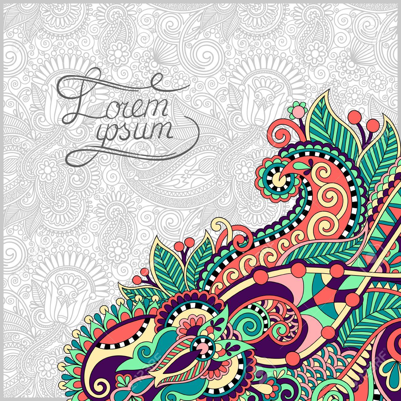 Paisley Design On Decorative Floral Background For Invitation
