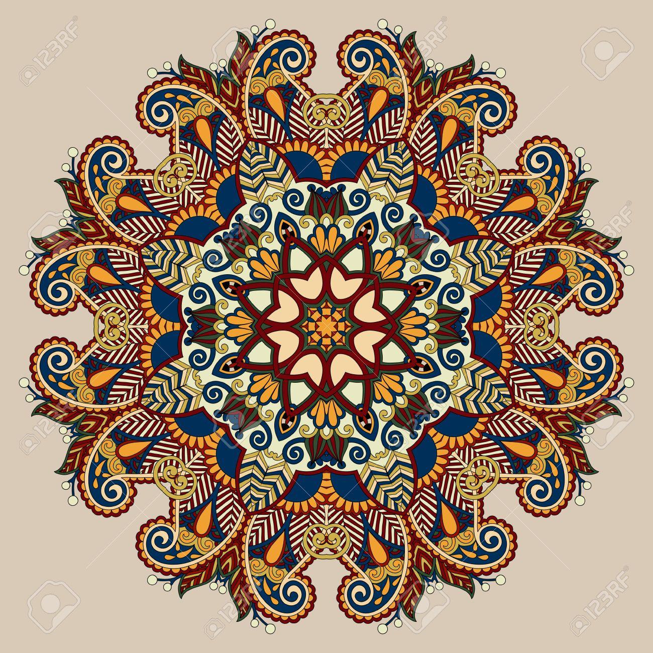 Banque dimages , mandala couleur beige, cercle décoratif symbole indien spirituelle de fleur de lotus, ornement rond, illustration vectorielle