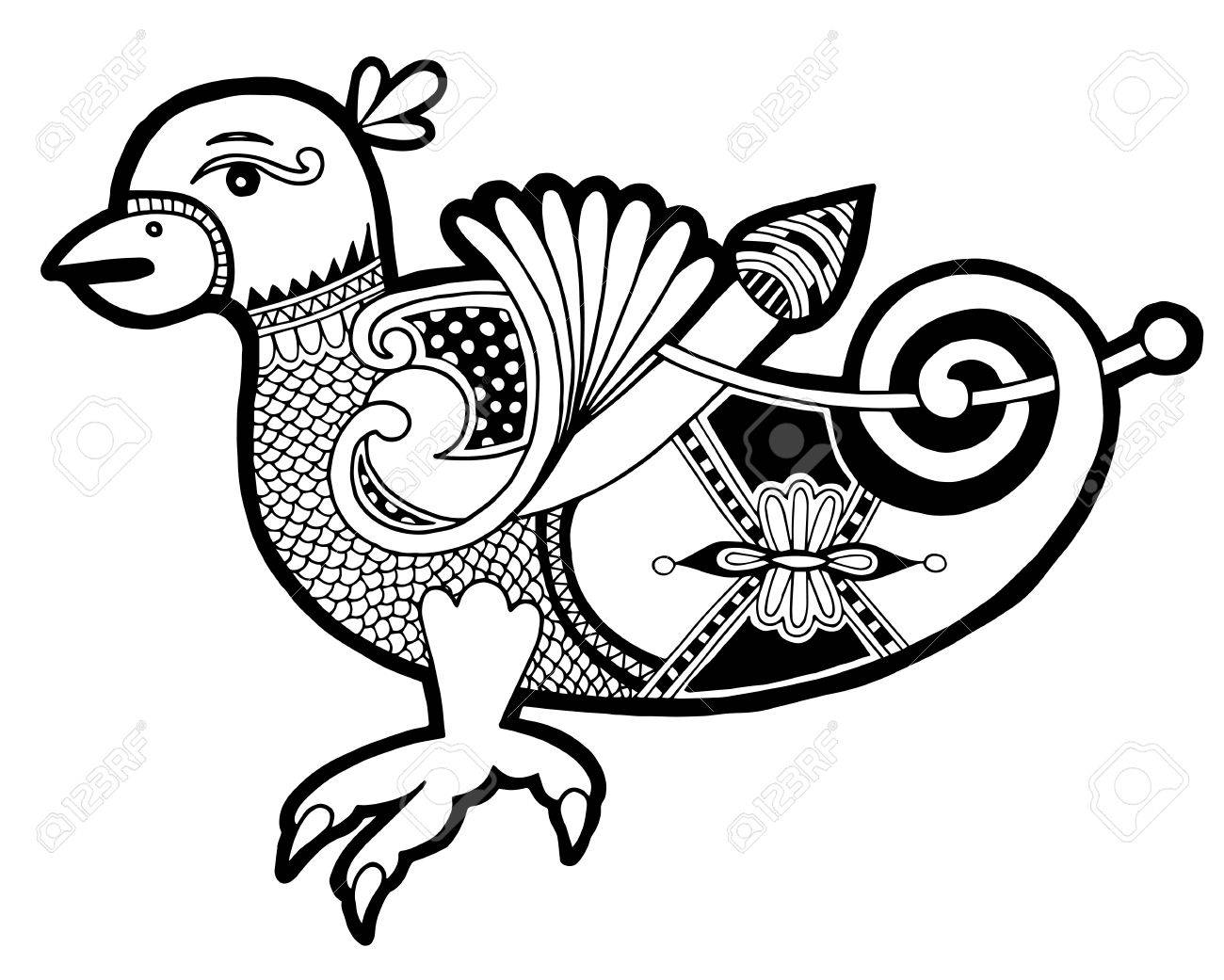 Line Art Rooster : Black and white authentic celtic bird ethnic vector illustration