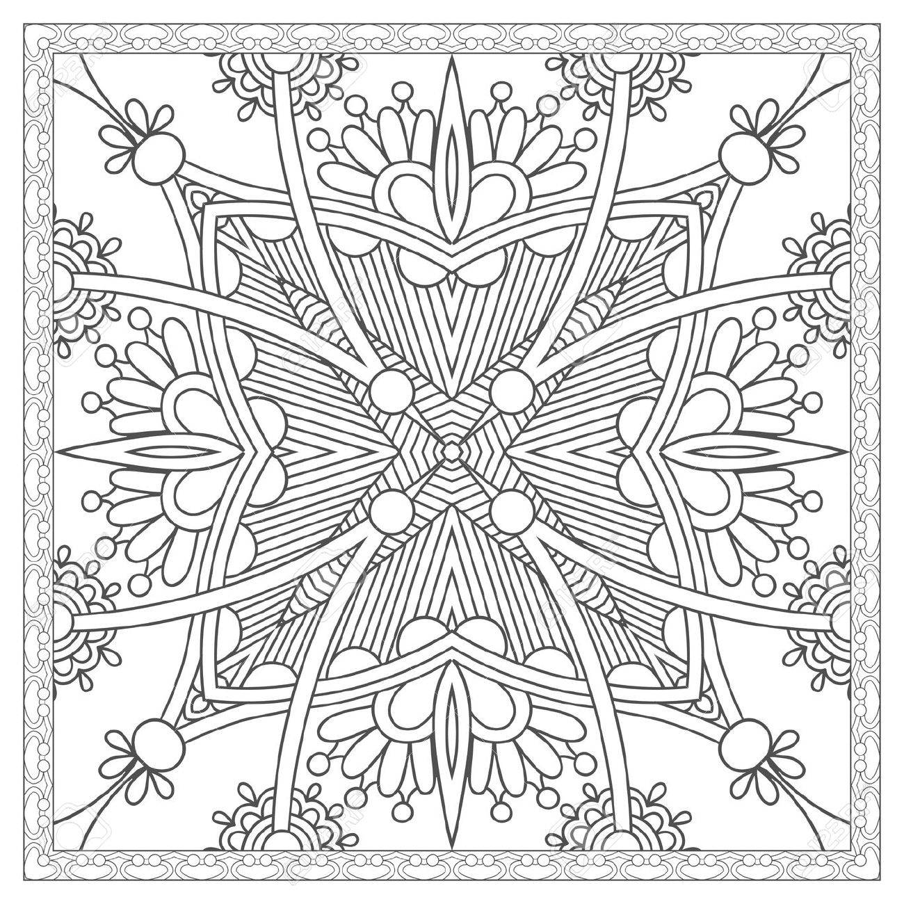 unique coloring book square page for adults - ethnic floral carpet..