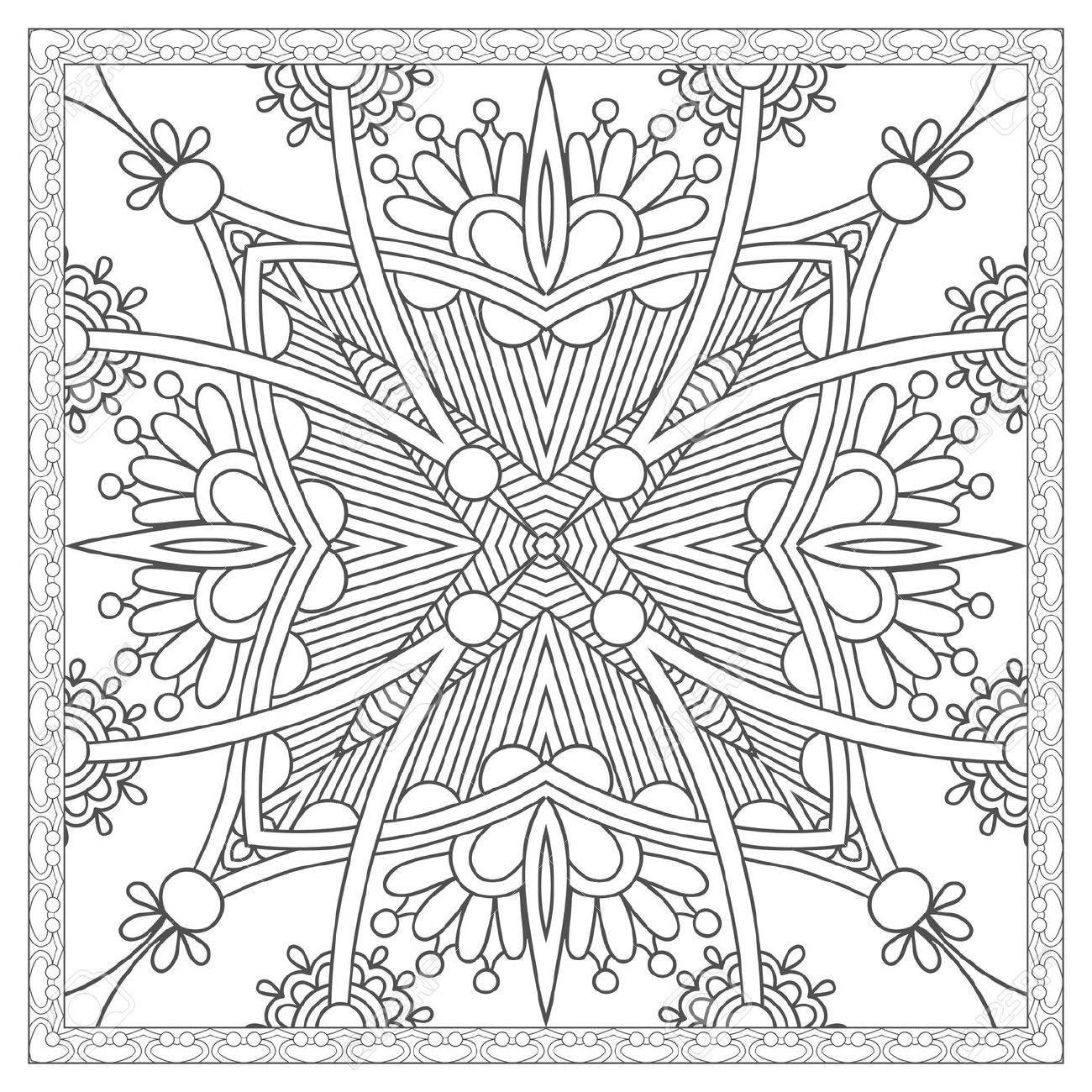 Unique Coloring Book Square Page For Adults - Ethnic Floral Carpet ...