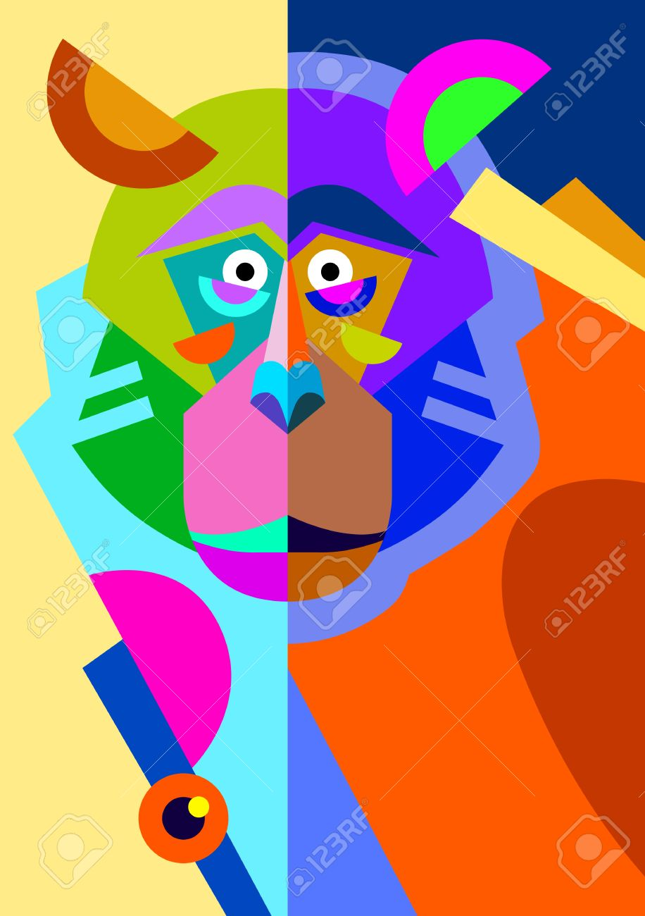 Exceptionnel Abstract Original Monkey Drawing In Flat Style And Pop Art, Animal  OA86