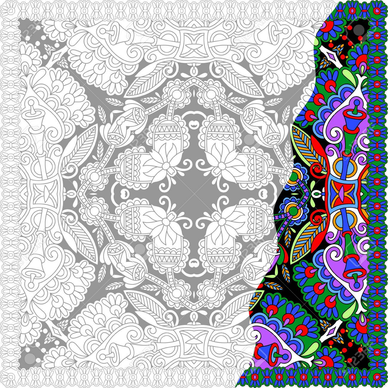 phil lewis art coloring books for adults : Vector Unique Coloring Book Square Page For Adults Floral Authentic Carpet Design Joy To Older Children And Adult Colorists Who Like Line Art And