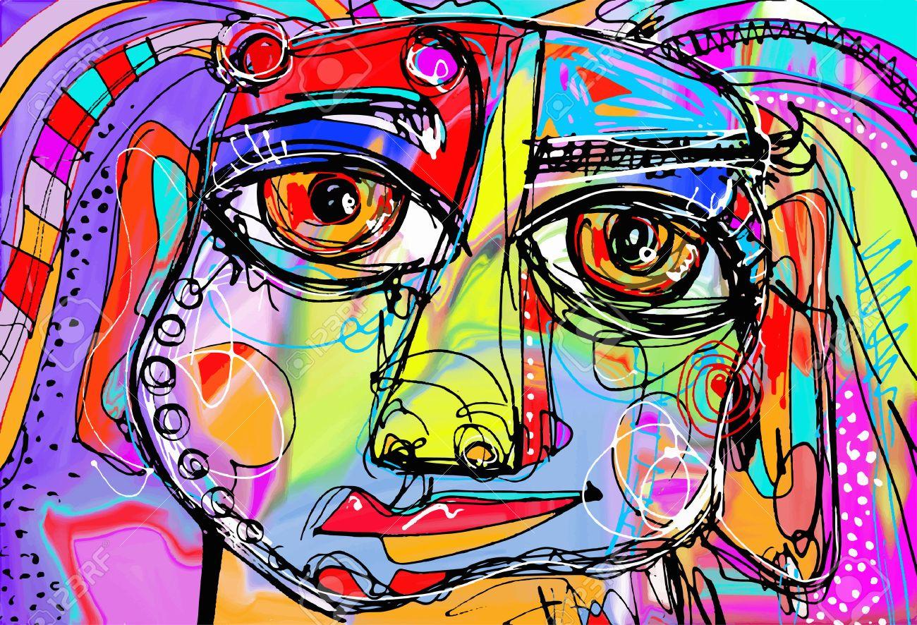 Bien-aimé Originale Peinture Abstraite Numérique De Visage Humain, La  PF71