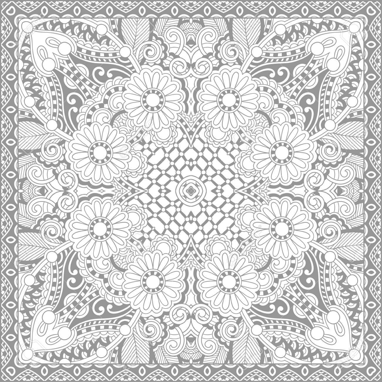 Unique Coloring Book Square Page For Adults Floral Authentic
