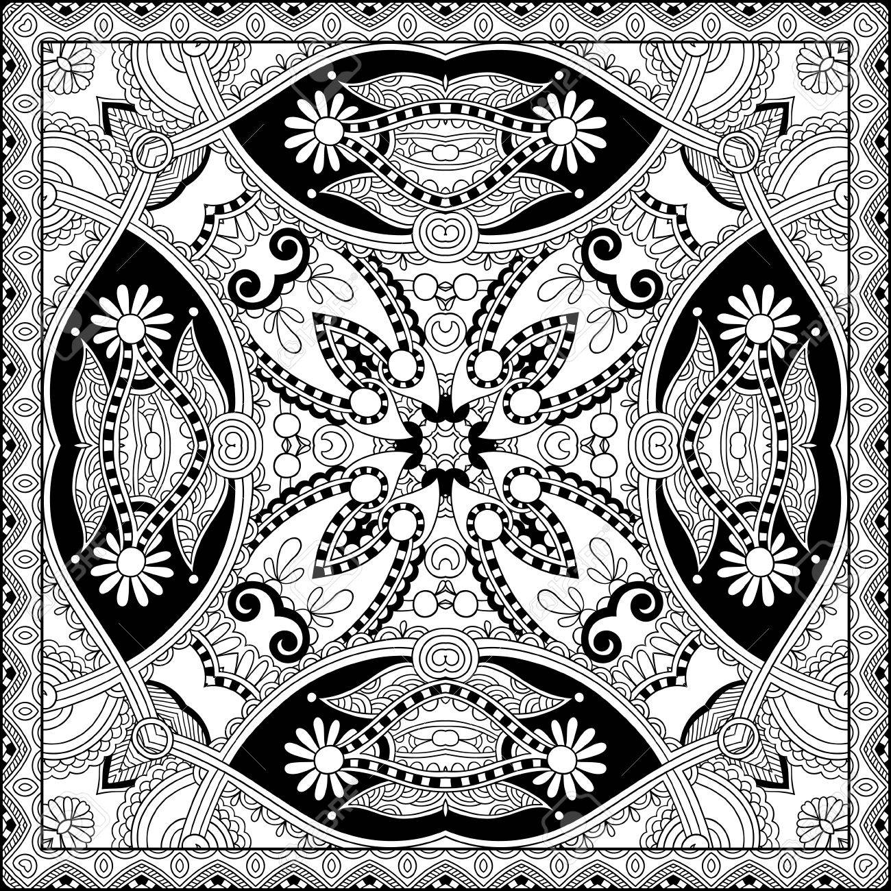 unique coloring book square page for adults floral authentic carpet design joy to older - Unique Coloring Books