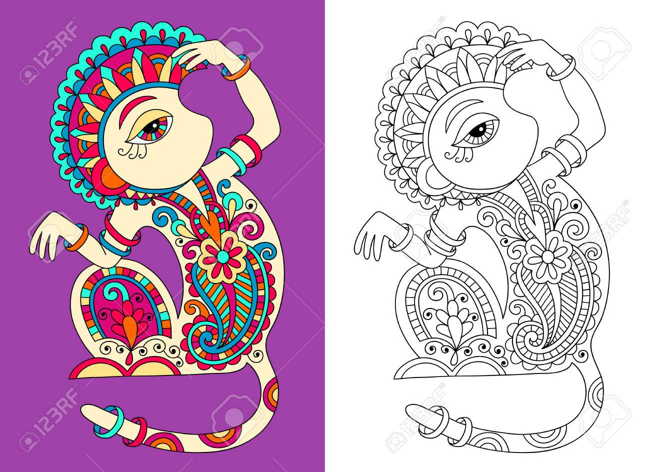 Coloring Pages Vector - Vector coloring book page for adults with unusual fantastic monkey in decorative ukrainian karakoko style vector illustration