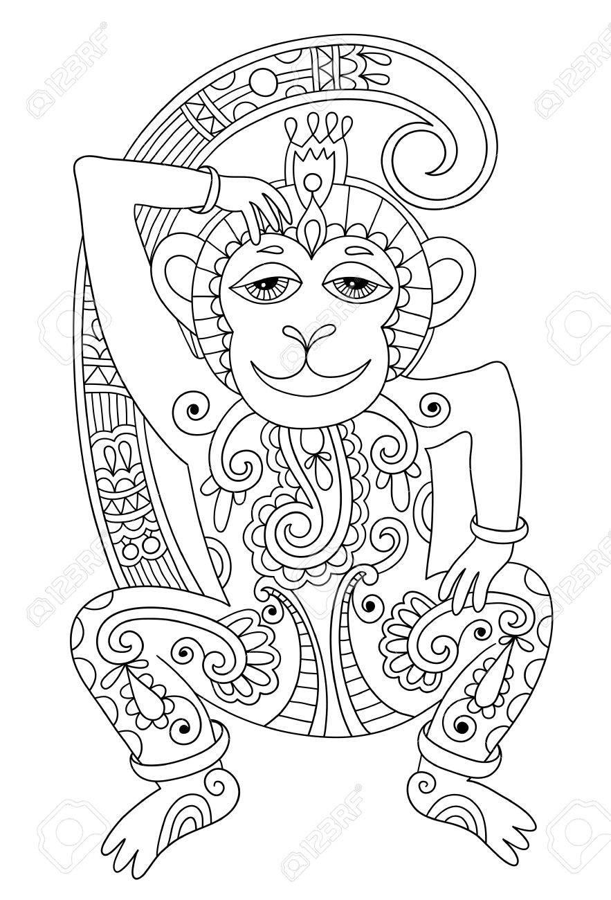 Line Art Drawing Of Ethnic Monkey In Decorative Ukrainian Style Black And White Vector Illustration