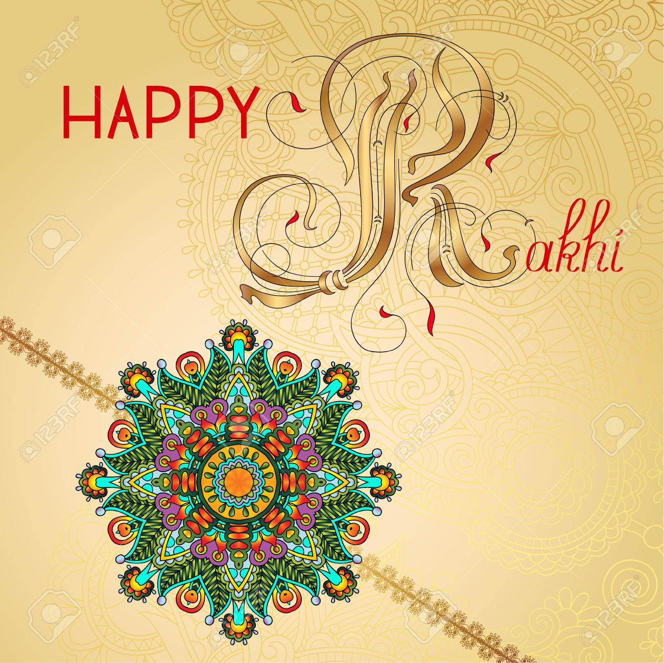 Happy rakhi greeting card for indian holiday raksha bandhan with happy rakhi greeting card for indian holiday raksha bandhan with original ornamental bangle on floral light m4hsunfo