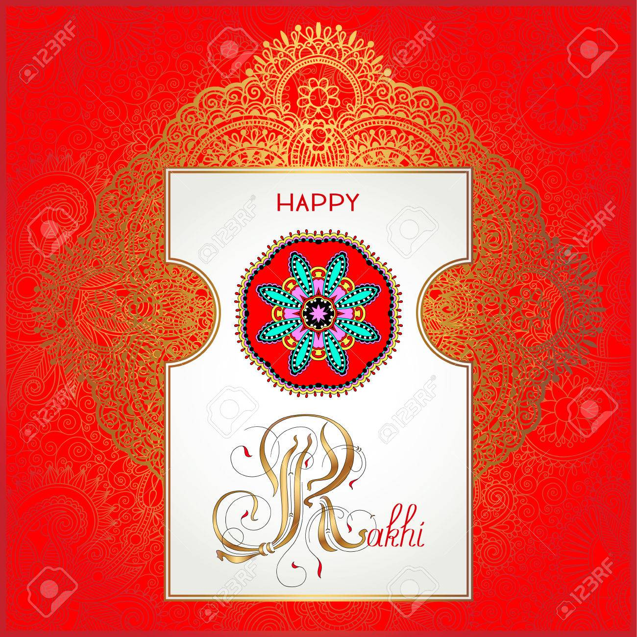 Red happy rakhi greeting card for indian holiday raksha bandhan red happy rakhi greeting card for indian holiday raksha bandhan with original ornamental bangle on floral m4hsunfo