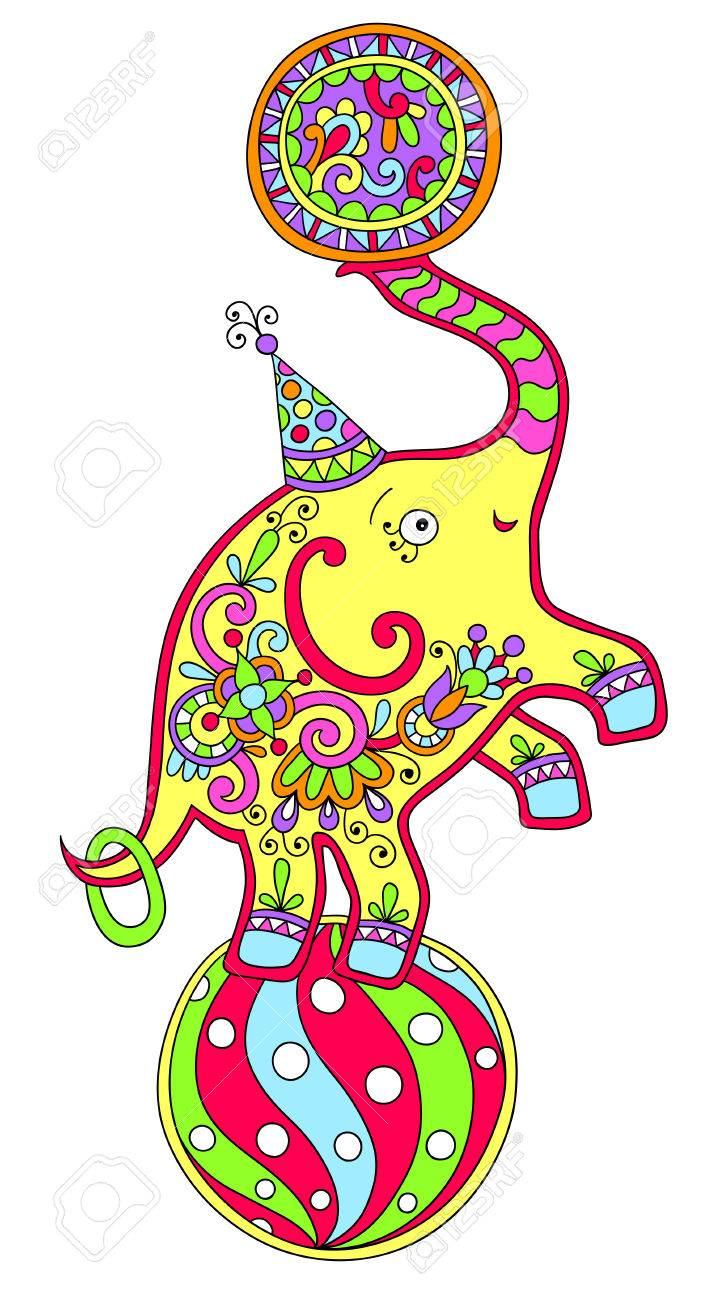 colored line art drawing of circus theme elephant balancing