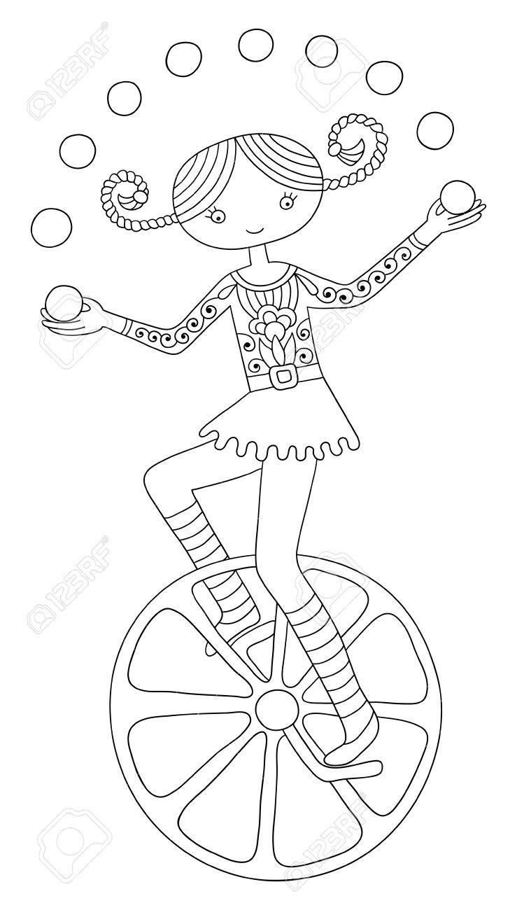 Schwarz-Weiß-Grafik-Darstellung Thema Zirkus - Teenager-Mädchen ...