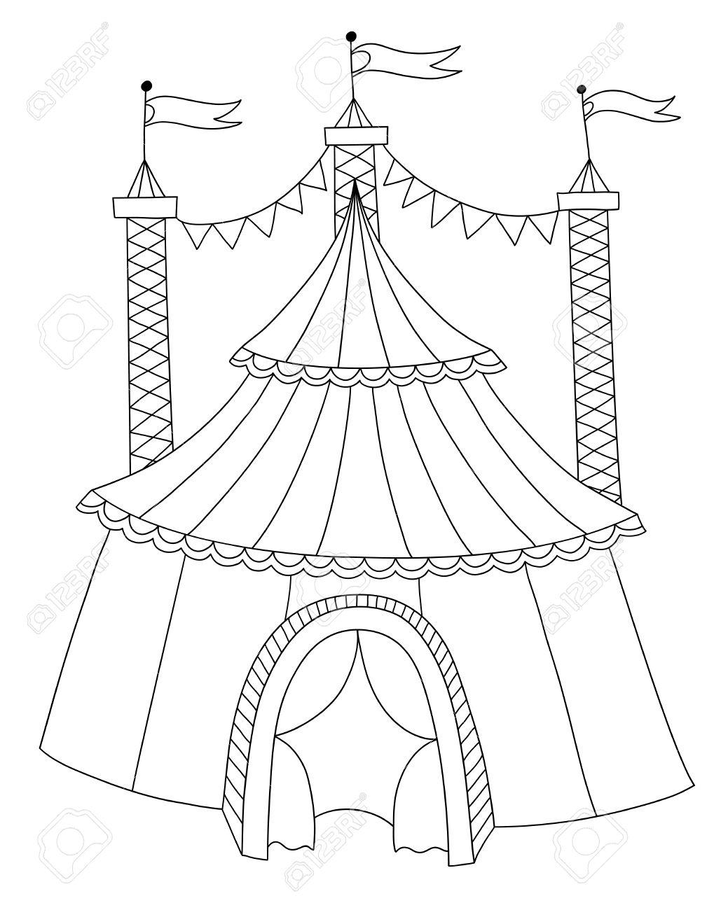 Vettoriale Bianco E Nero Illustrazione Linea Arte Del Tendone Da