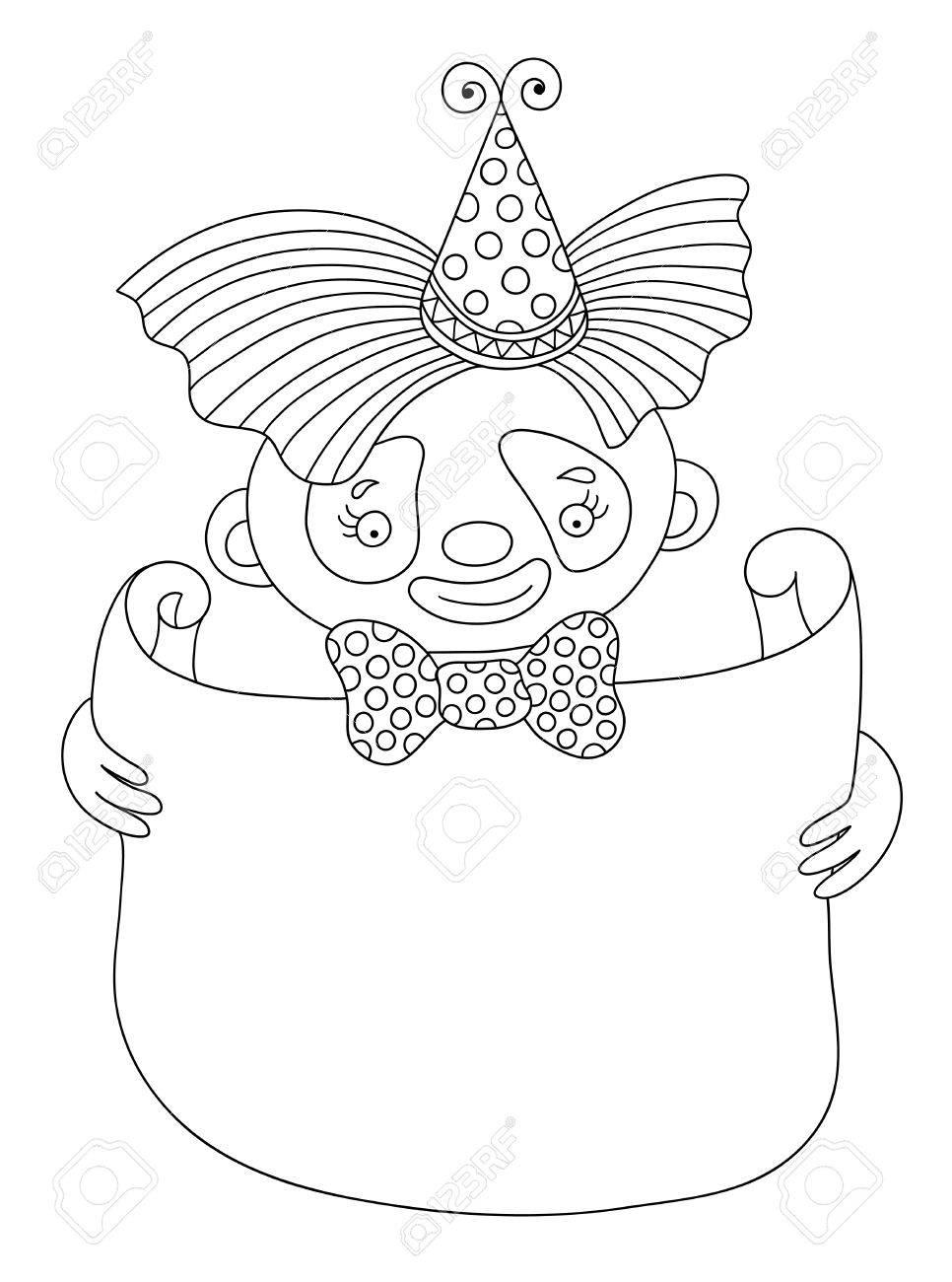 Coloriage Clown Adulte.Noir Et Blanc Art En Ligne Illustration Vectorielle De Theme Du Cirque Clown Avec Cadre Pour Votre Texte Vous Pouvez Utiliser Comme Livre De