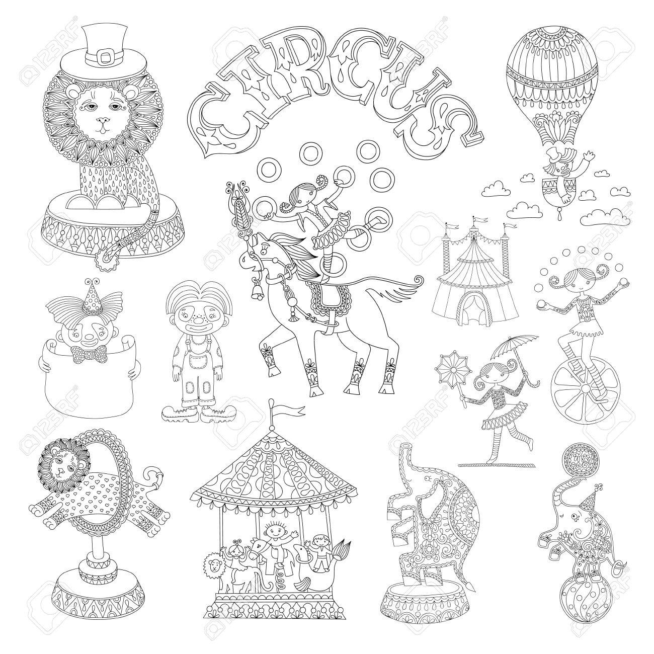 black and white line art drawings collection of circus theme,..