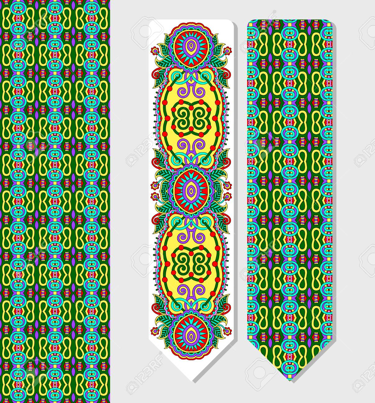 Floral Decorative Ethnic Paisley Bookmark For Printing, Double-sided ...