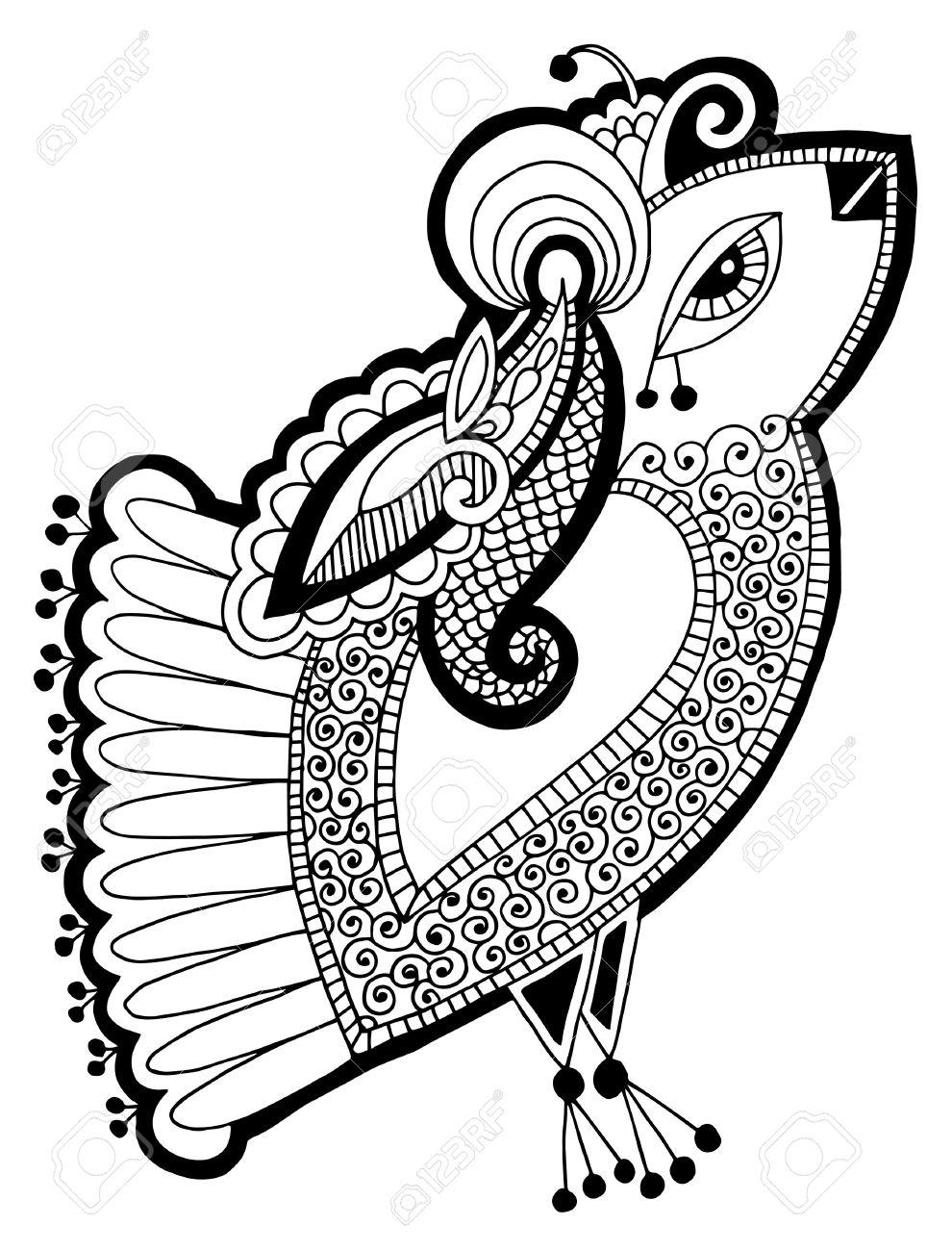 Noir Et Blanc Paon Oiseau Dessin Ethnique Décoratif Illustration Vectorielle