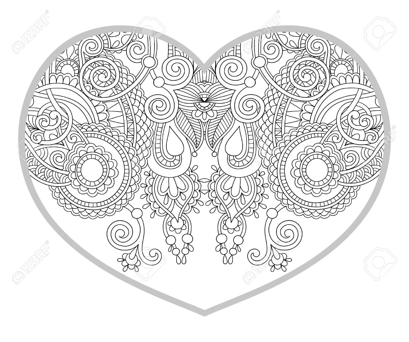 Zen coloring books for children - Vector Heart Shaped Pattern For Adult And Older Children Coloring Book Black And White Zentangle Background For Valentines Day Greeting Card Paisley Hand