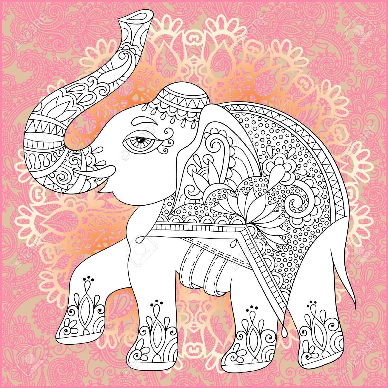 unique coloring book page for adults flower paisley design with elephant joy to older children and a