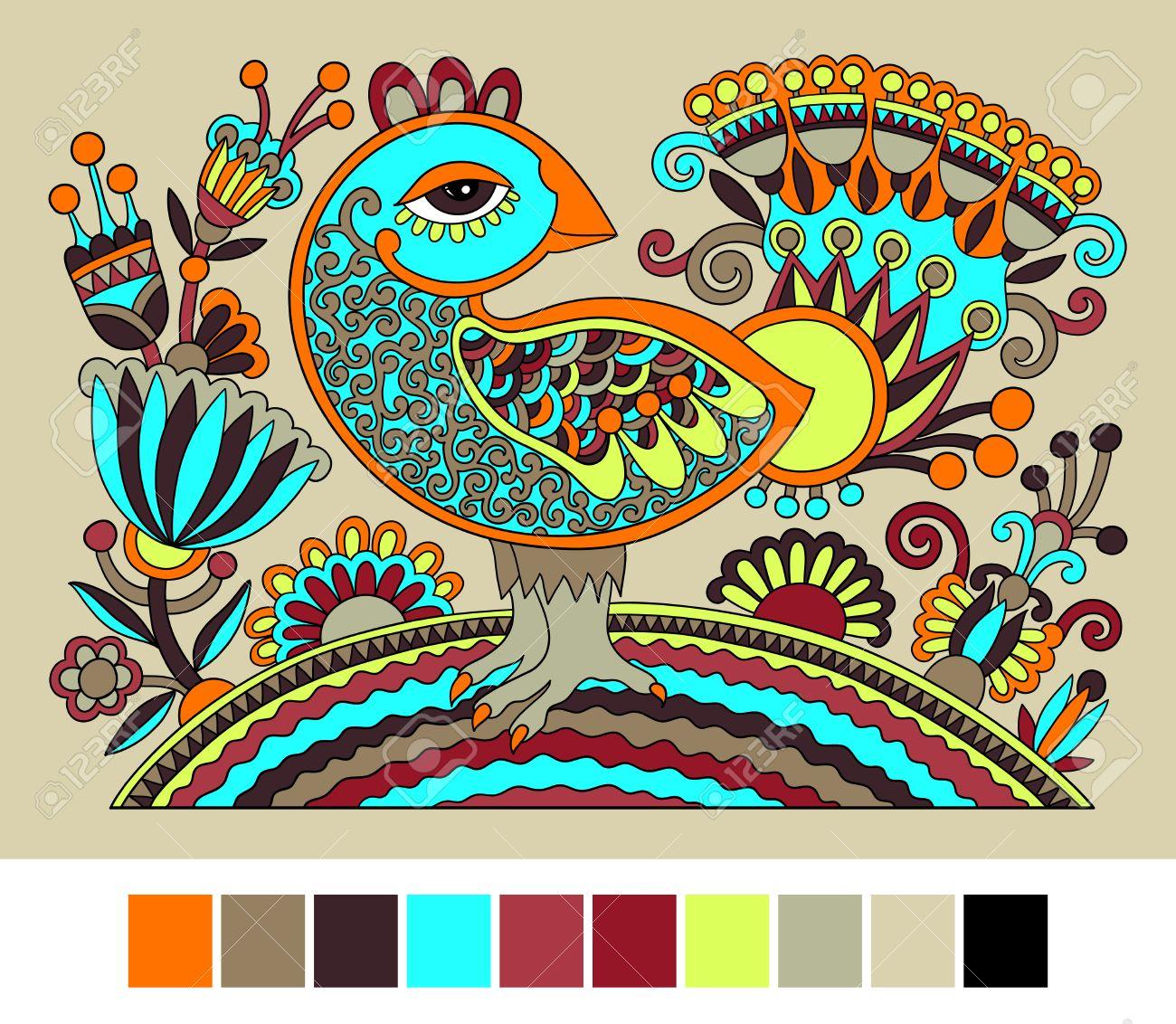 Dibujado A Mano Original Ucraniano Patron Decorativo Etnico Con Aves
