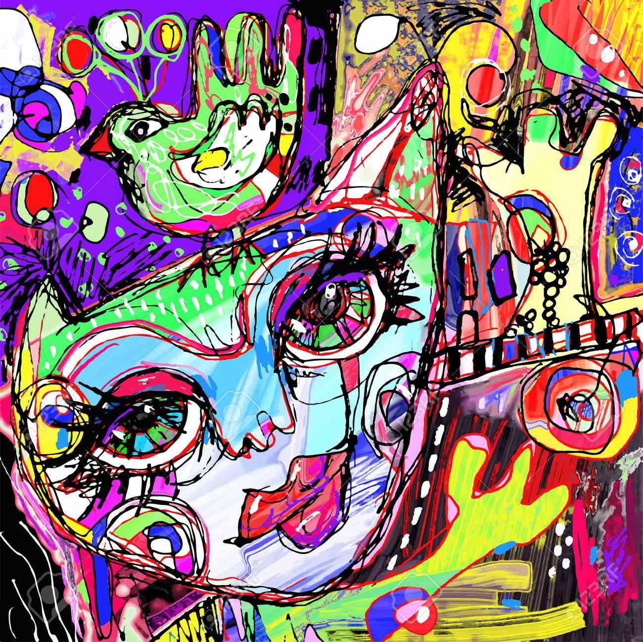 Abstraite Numérique Oeuvre De La Peinture Contemporaine Du Chat Et