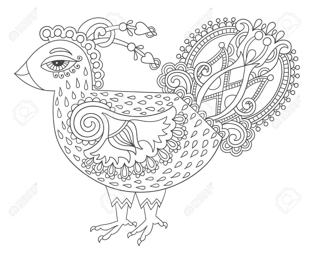 Línea Arte De Dibujo De Gallo Para Colorear Página Del Libro Alegría ...