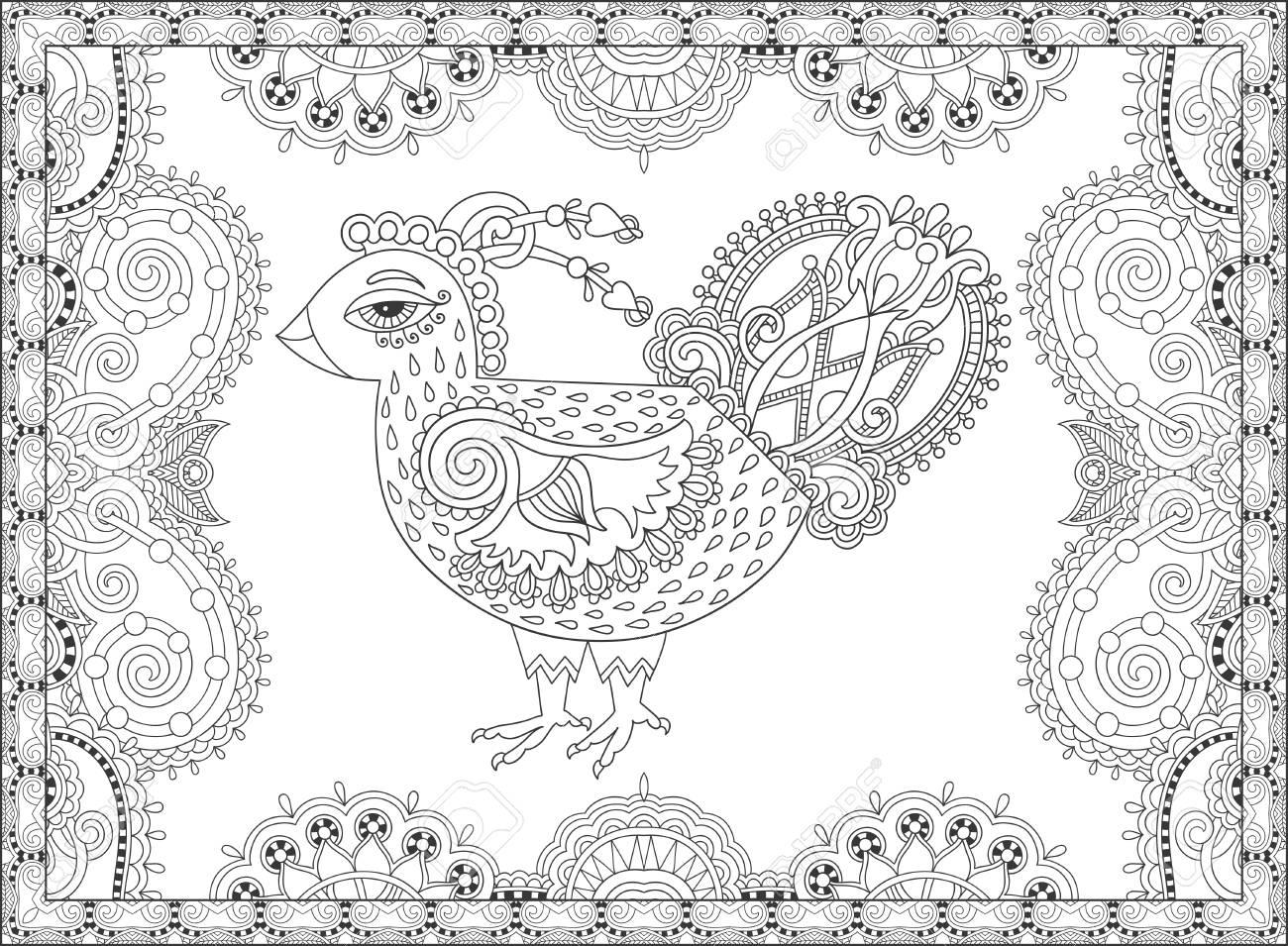 Línea Arte De Dibujo De Gallo Para Colorear Página Del Libro Alegría