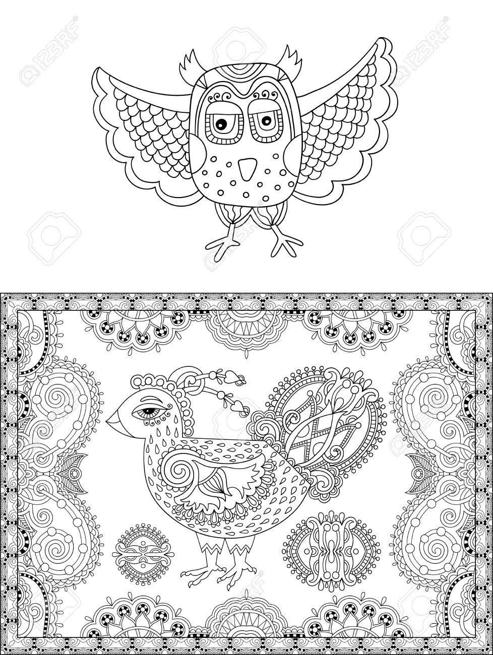 Original Black And White Line Drawing Page Of Coloring Book Bird Flower Joy To Older