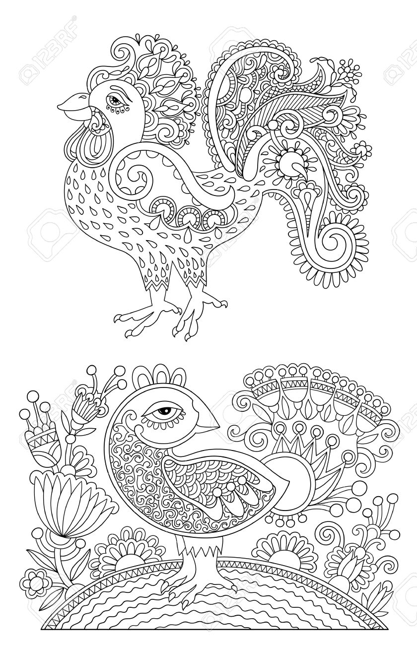 Original Black And White Line Art Rooster Drawing Page Of Coloring Book Bird Joy To