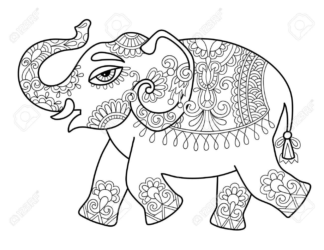 Ethnic Indian Elephant Line Original Drawing, Adults Coloring ...