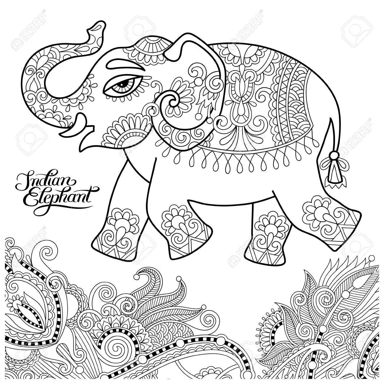 Ethnic Indian Elephant Line Original Drawing Adults Coloring Book Page Black And White Vector