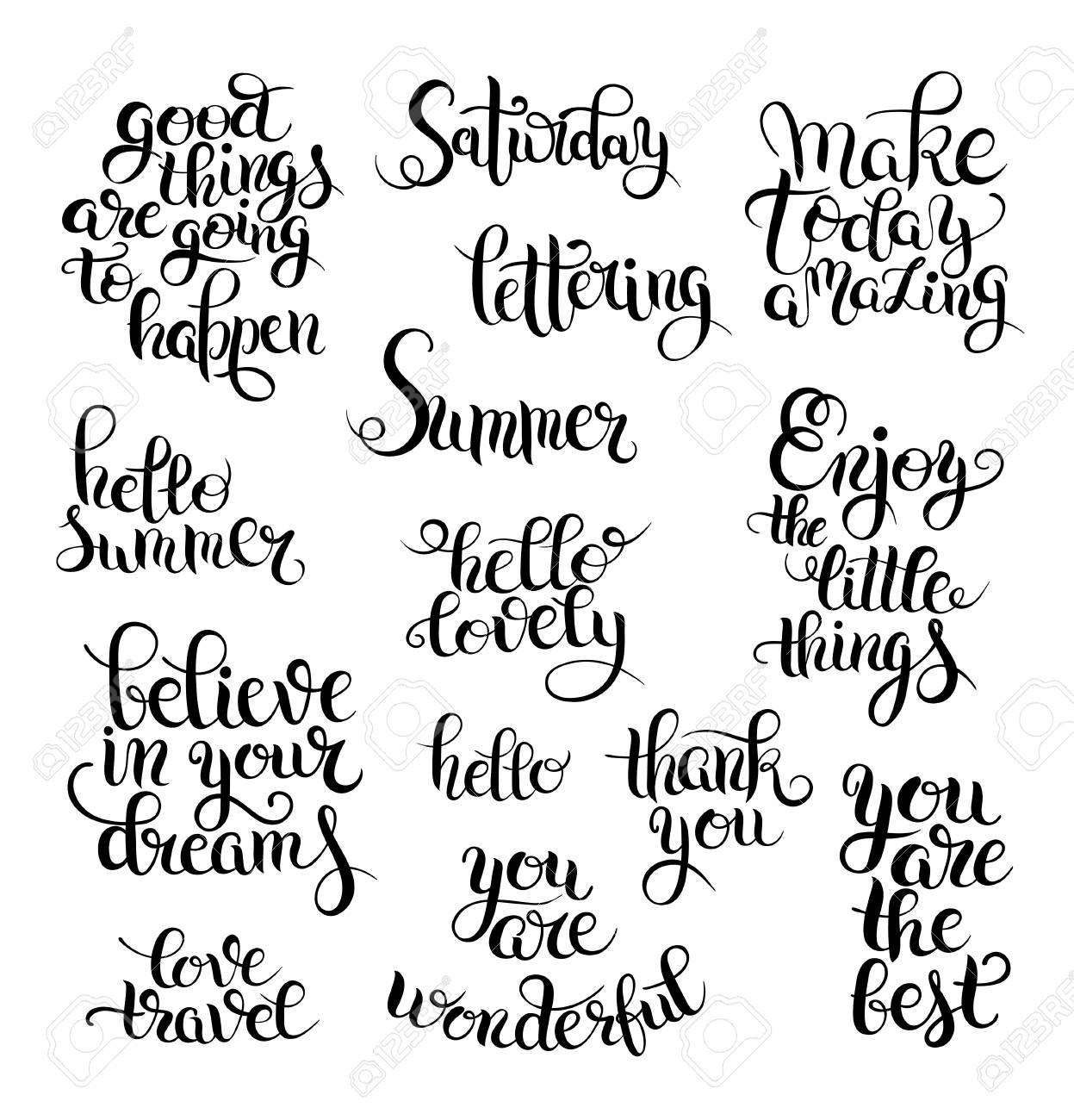 Conjunto Blanco Y Negro De La Mano Escrito Frases Y Palabras Letras Caligráficas Hola Preciosa Disfrutar De Las Cosas Pequeñas Viajes Amor