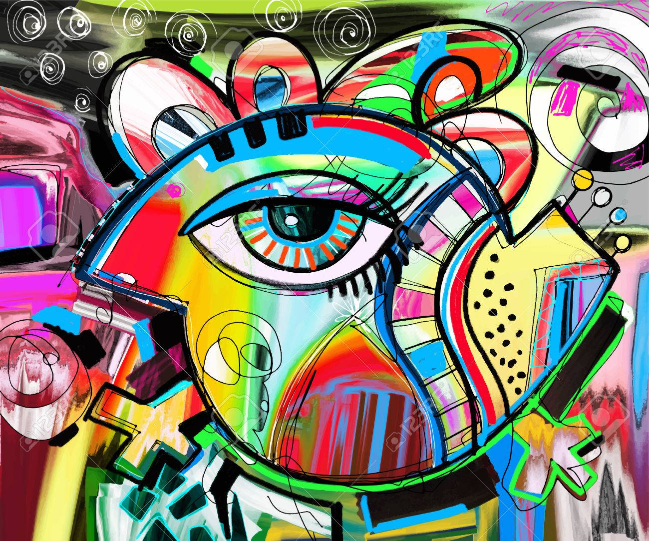 original abstraction composition of doodle bird digital painting