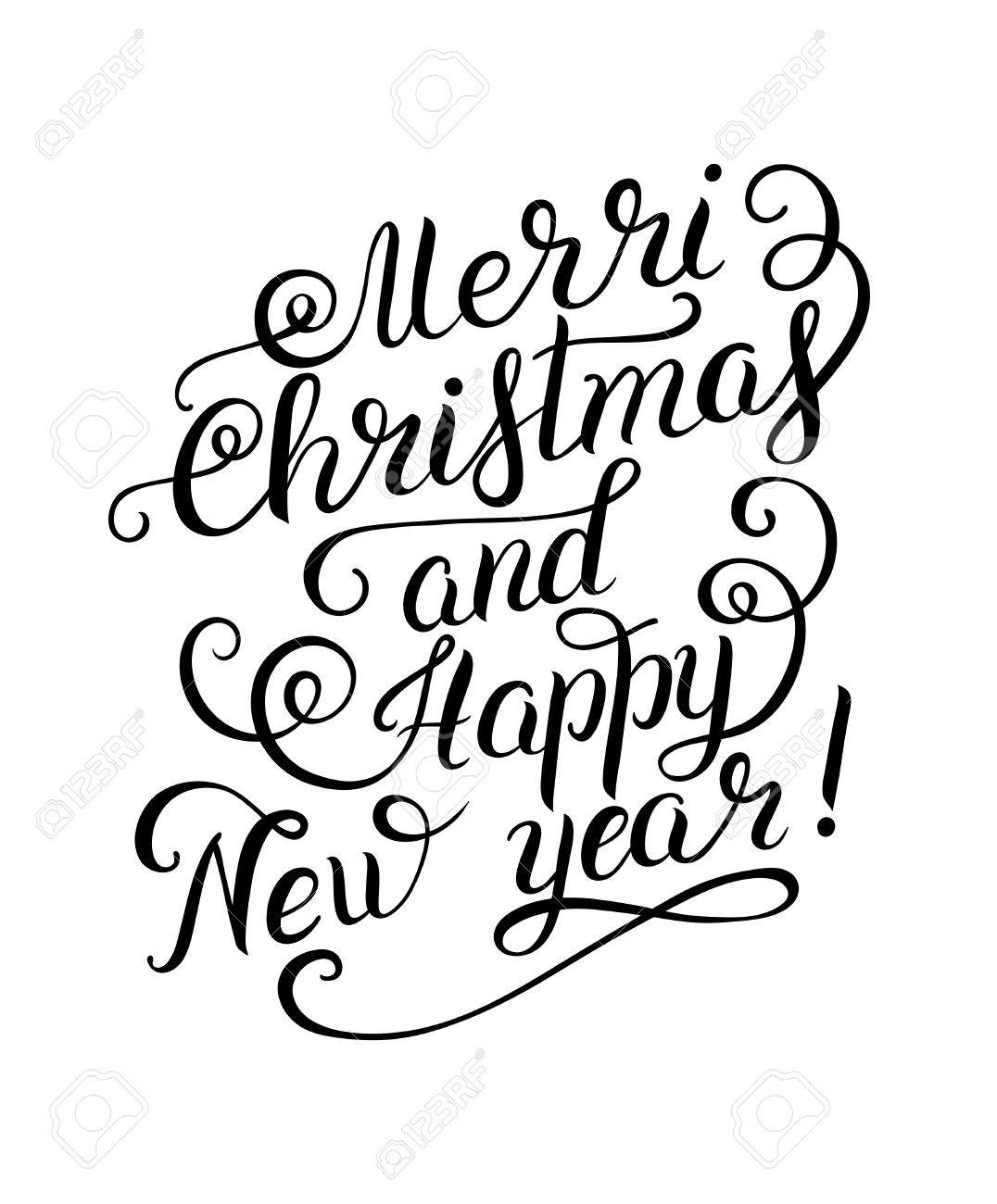 black and white merry christmas and happy new year calligraphic hand lettering vector illustration stock