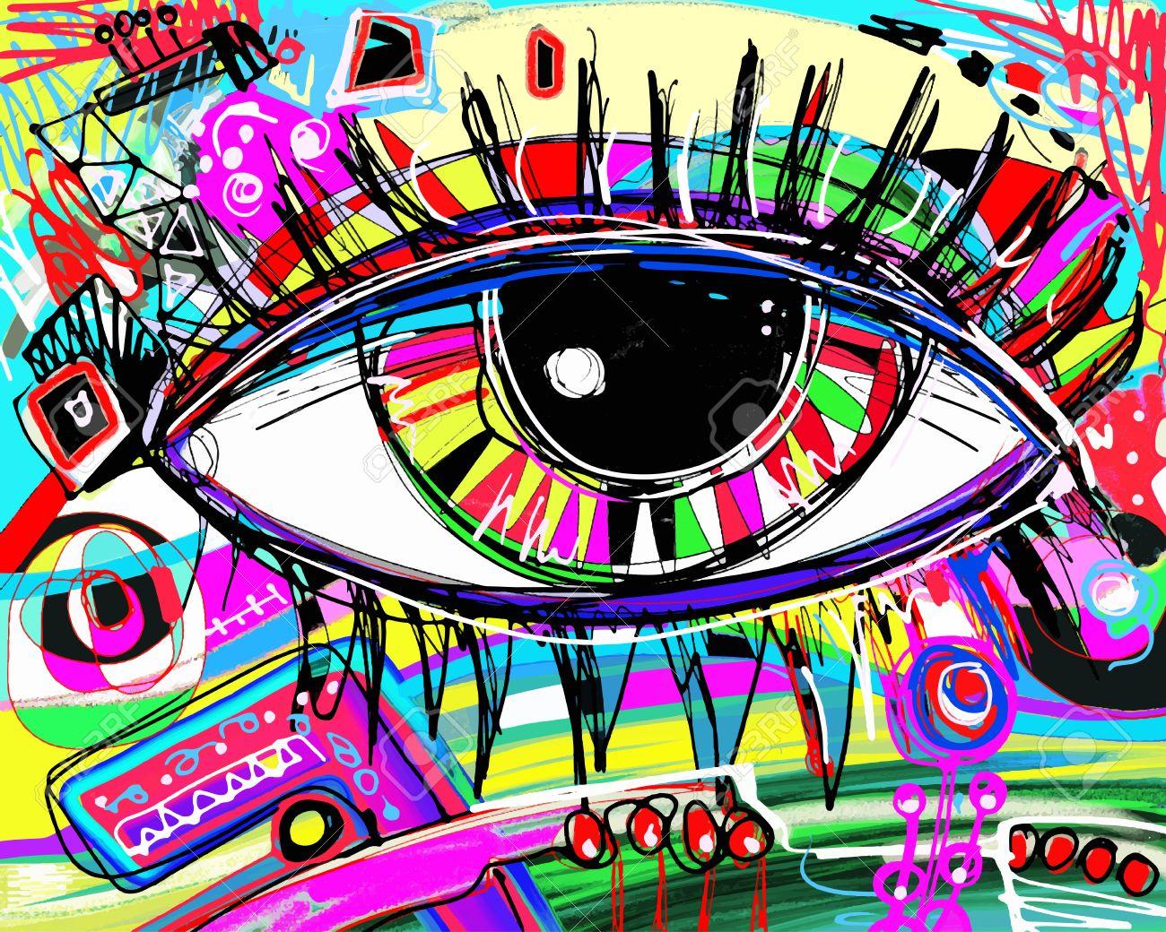Pintura Original Abstracto Digital Del Ojo Humano, La Composición ...