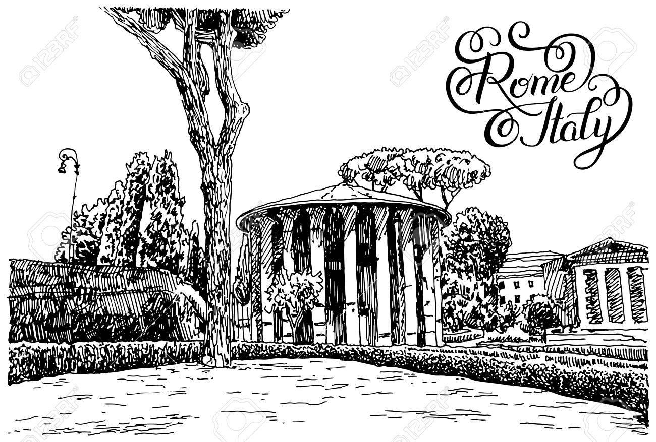 Dessin à La Main Croquis Noir Et Blanc De Rome Célèbre Paysage Urbain Avec Le Lettrage à La Main Inscription Carte Voyage Illustration Vectorielle