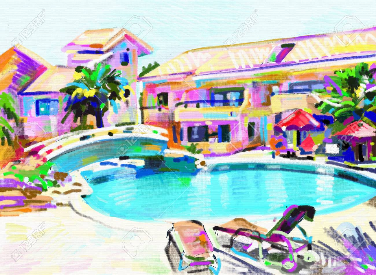 original digital painting of Cyprus hotel landscape with swimming..
