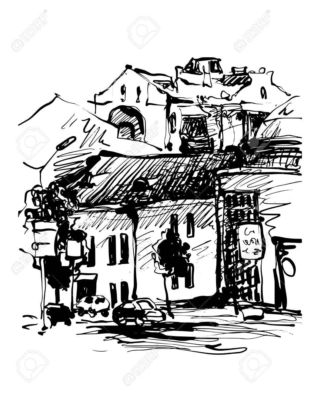 Originale Croquis Noir Et Blanc Numérique De Kiev En Ukraine Ville Paysage Pleinair Dessin Illustration Vectorielle