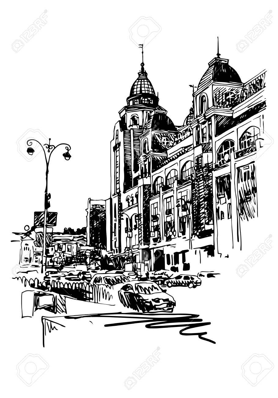 Vettoriale Abbozzo Digitale In Bianco E Nero Originale Di Kyiv