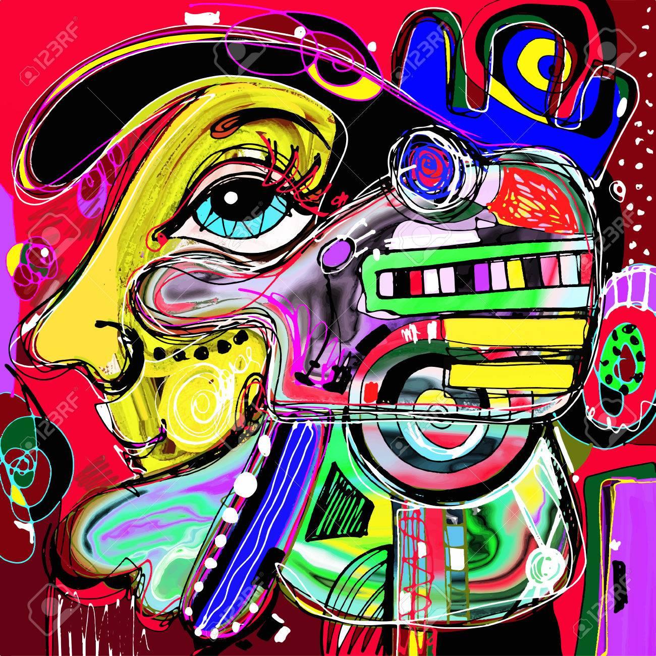 Bien-aimé Originale Peinture Abstraite Numérique De Visage Humain  PF71