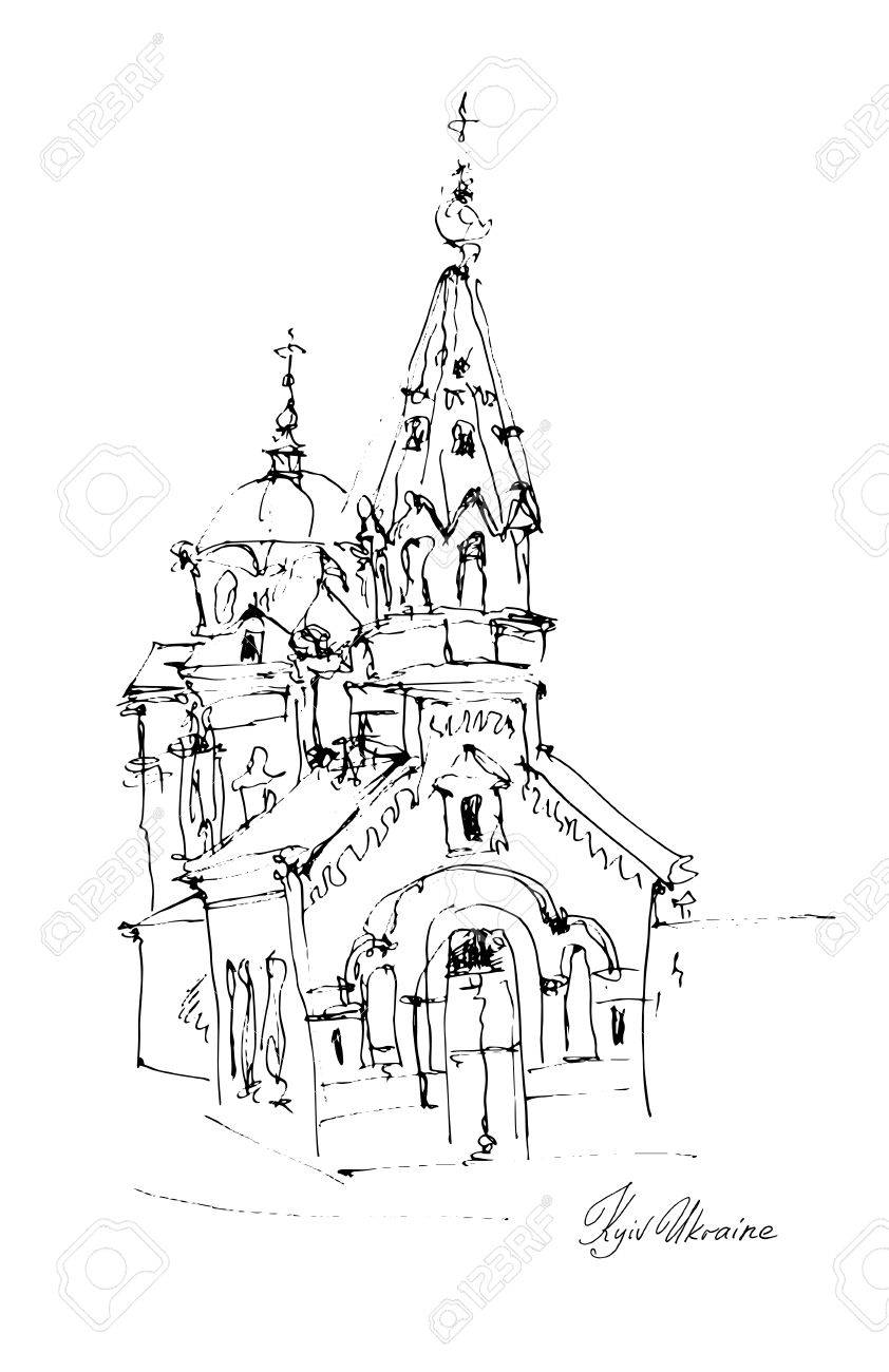 Black and white freehand sketch drawing of church in podol kyiv ukraine pleinair artwork vector