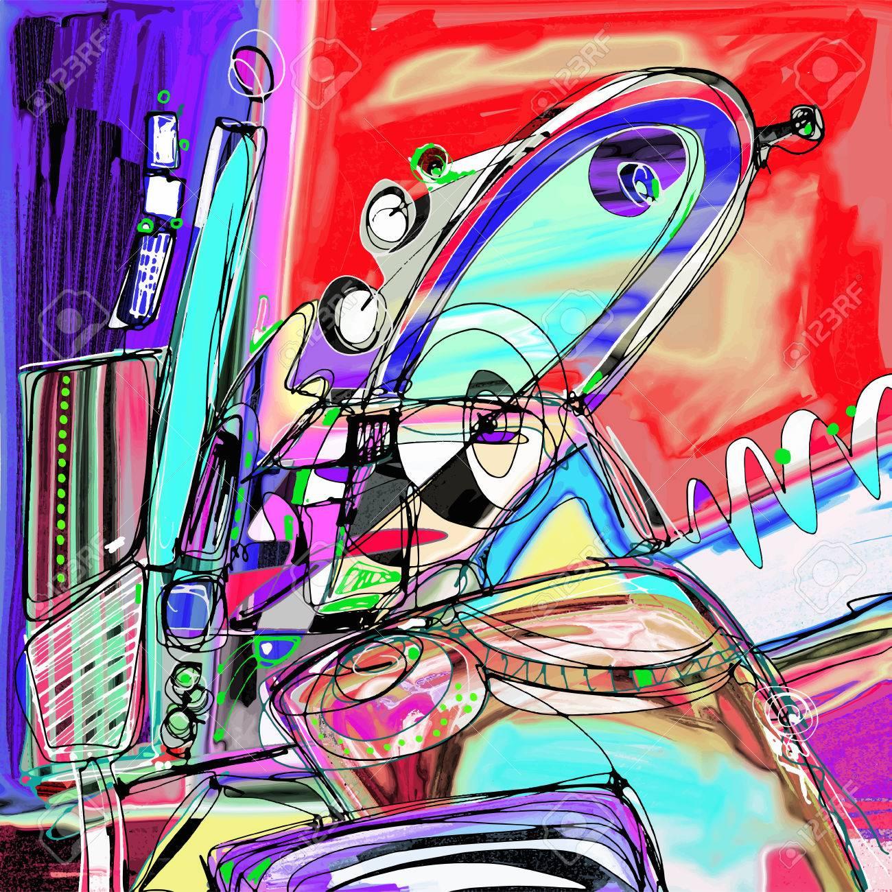 original illustration of abstract art digital painting, vector illustration - 61772149