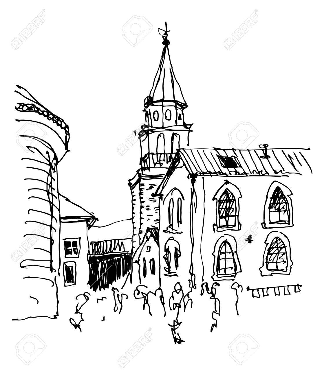 Sketch Drawing Of The Bell Tower Church Top View In Old Town ...
