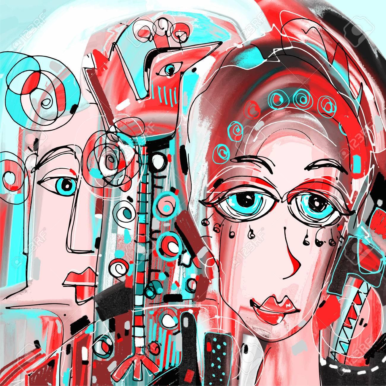 Peinture Abstraite Numérique Des Femmes Visage